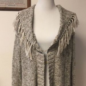 Chico's Fringed Collar Cardigan Size 3 Sweater